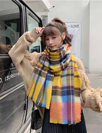 Fashion Yellow Plaid Short-strap Plaid Cashmere Shawl Scarf