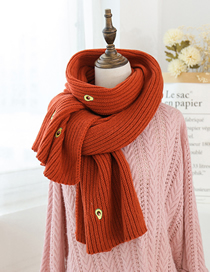 Fashion Brick Red Knitted Avocado Wool Scarf