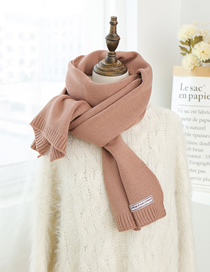 Fashion Leather Pink Knitted Wool Scarf