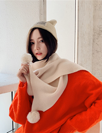 Fashion Beige Wool Knit Wool Scarf