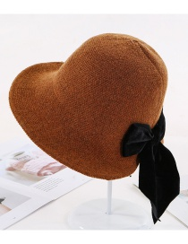 Fashion Caramel Colour Knit Fisherman Hat With Bow Tie