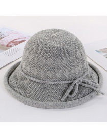 Fashion Light Grey Knitted Terry Curling Basin Cap