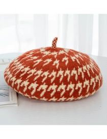 Fashion Orange Houndstooth Wool Beret