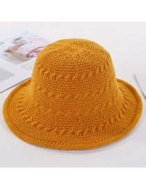 Fashion Yellow Knitted Wide Wool Cap