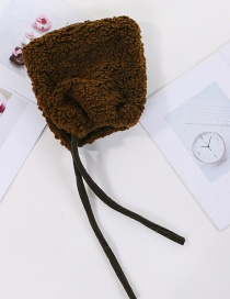 Fashion Coffee Color (children) Thickened Lambskin Knit Plus Velvet Pointed Parent-child Cap