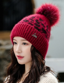 Fashion Wine Red Velvet Thick Leopard Wool Hat