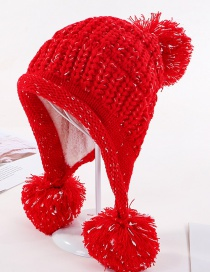 Fashion Red Three Hair Ball And Velvet Knitted Wool Cap