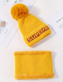 Fashion Yellow Wool Letter Velvet Knit Hat Bib Two-piece