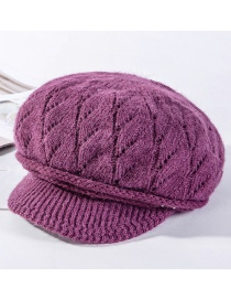 Fashion Rose Purple Thickened Rabbit Hair Spiral Pattern Plus Velvet Knit Hat