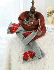 Fashion Light Blue Strawberry Knit Wool Scarf