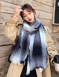 Fashion Gray Cashmere Plaid Gradient Shawl