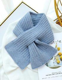 Fashion Denim Blue Knitted Short Scarf