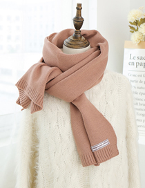 Fashion Leather Powder Knit Long Scarf