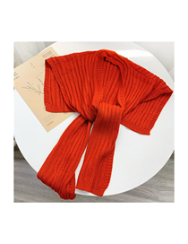 Fashion L02 Orange Knitted Knotted Small Shawl