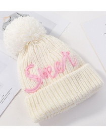 Fashion Milk White Plus Velvet Letter Hair Ball Curling Wool Cap