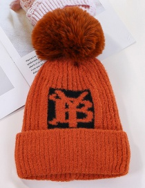 Fashion Orange Plus Yb Letter Velvet Wool Cap
