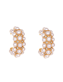 Fashion White Alloy Pearl Circle Earrings