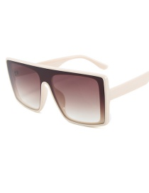 Fashion Beige Frame Double Tea Siamese Lens Square Sunglasses