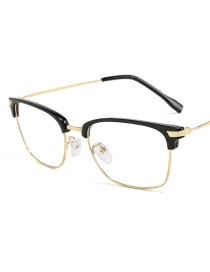 Fashion Black Eyebrow Gold Frame Eyebrow Half Frame Flat Mirror Glasses