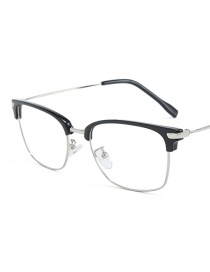Fashion Bright Black Eyebrow Silver Frame Eyebrow Half Frame Flat Mirror Glasses