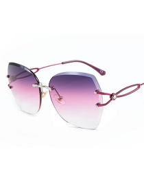Fashion Red Frame Purple Powder White Cut-to-edge Large Frame Hollow Diamond-encrusted Temple Sunglasses