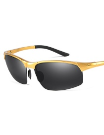Fashion Gold Frame Black Ash Square Half Frame Aluminum Magnesium Sunglasses