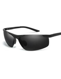 Fashion Black Frame Black Gray Eyebrow-free Square Aluminum-magnesium Polarized Sunglasses