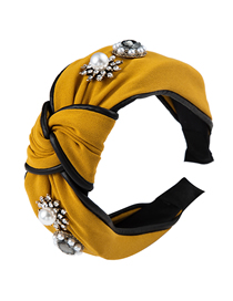 Fashion Yellow Cloth And Diamond Pearl Wide-brimmed Knotted Headband