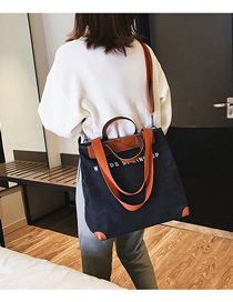 Fashion Black Canvas Letter Print Stitching Shoulder Crossbody Tote  Canvas