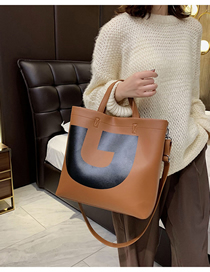 Fashion Brown Contrast Color Hand Shoulder Shoulder Bag  Pu