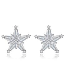 Fashion Platinum Pentagram Earrings