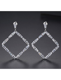 Fashion Platinum Square Copper Inlay Zircon Earrings