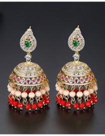 Fashion Red Copper Inlaid Zirconium Hollow Earrings