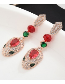 Fashion Red S925 Sterling Silver Needle Micro-inlaid Zircon Snake Earrings
