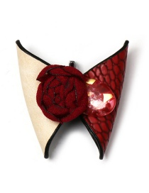 Fashion Red Butterfly Leather Brooch