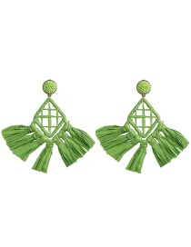 Fashion Green Rattan Lafite Earrings