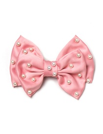 Fashion Pink Chiffon Printed Two-layer Bow Spring Clip