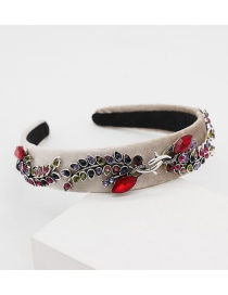 Fashion White Leather And Diamond Geometric Leaf Flower Headband
