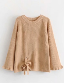 Fashion Khaki Knit Bow Sweater
