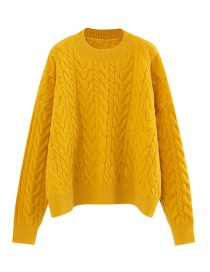 Fashion Yellow Twist Sweater