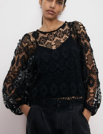 Fashion Black Puff Sleeve T-shirt