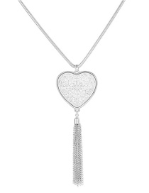 Fashion Silver Love Tassel Sweater Chain