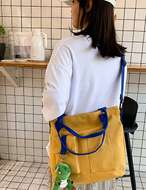 Fashion Yellow Belt Pendant Canvas Stitching Webbing Crossbody Shoulder Bag