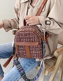 Fashion Brown Woolen Plaid Shoulder Bag