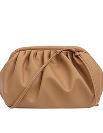 Fashion Khaki Chain Pleated Crossbody Shoulder Bag