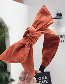 Fashion Brick Red Cotton Linen Bow Wide-brimmed Headband