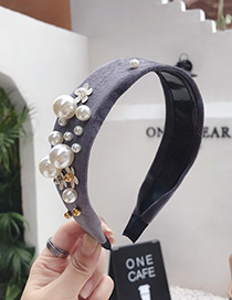 Fashion Gray Suede Beaded Flower Wide Side With Toothed Non-slip Headband