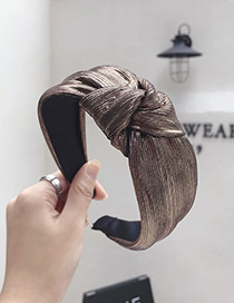 Fashion Copper Bronzing Fabric Pleated Stripes Knotted Wide-brimmed Headband