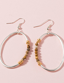 Fashion Brown Beads Natural Stone Geometric Round Earrings