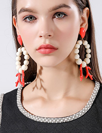 Fashion Red Beaded Coral Circle Earrings
